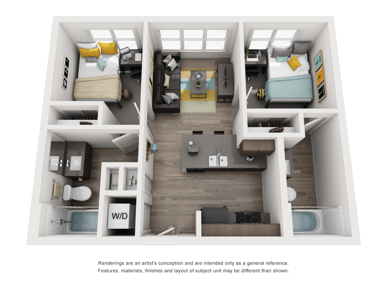 Two Bedrooom, Two Bathroom Floor Plan