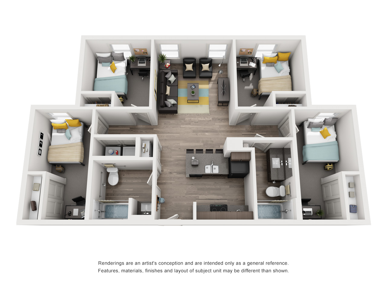 Four Bedroom, Two Bathroom Floor Plan